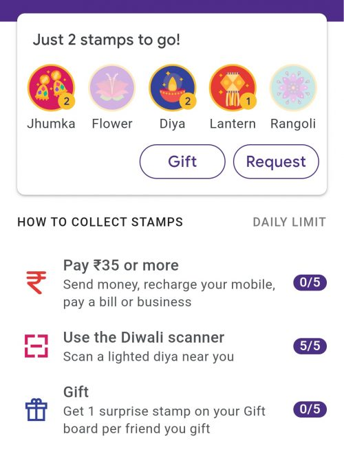 Google Pay Diwali Stamps