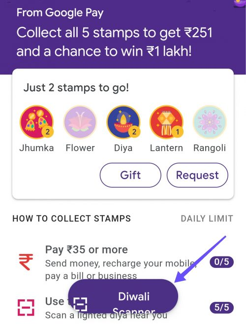 Google Pay Diwali Scanner