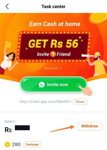 Helo App Withdrawal Money
