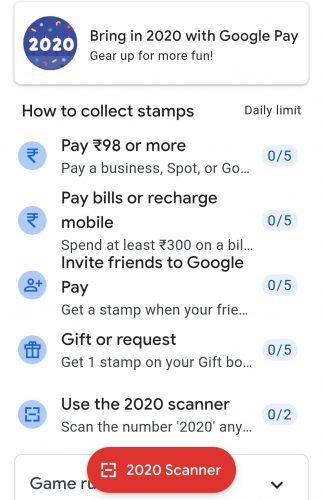 Google Pay 2020 Offer Game