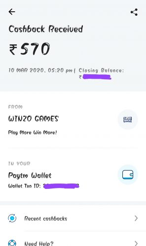 WinZo Gold Earning Proof