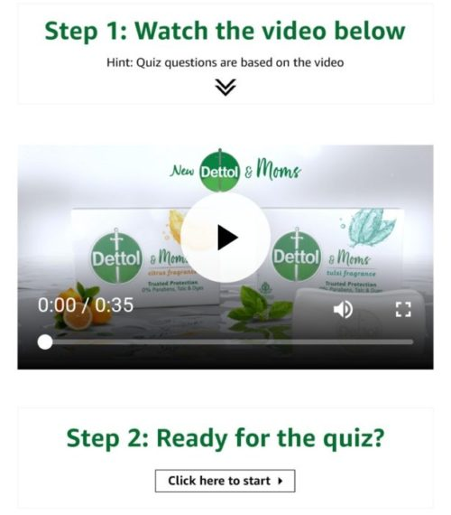 Amazon Dettol & Moms Quiz Answers