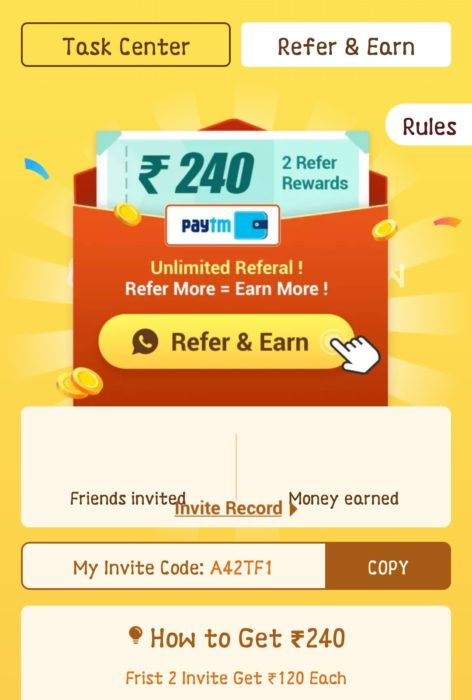 Galo App Refer and earn