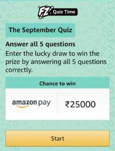 Amazon The September Quiz Answers Today